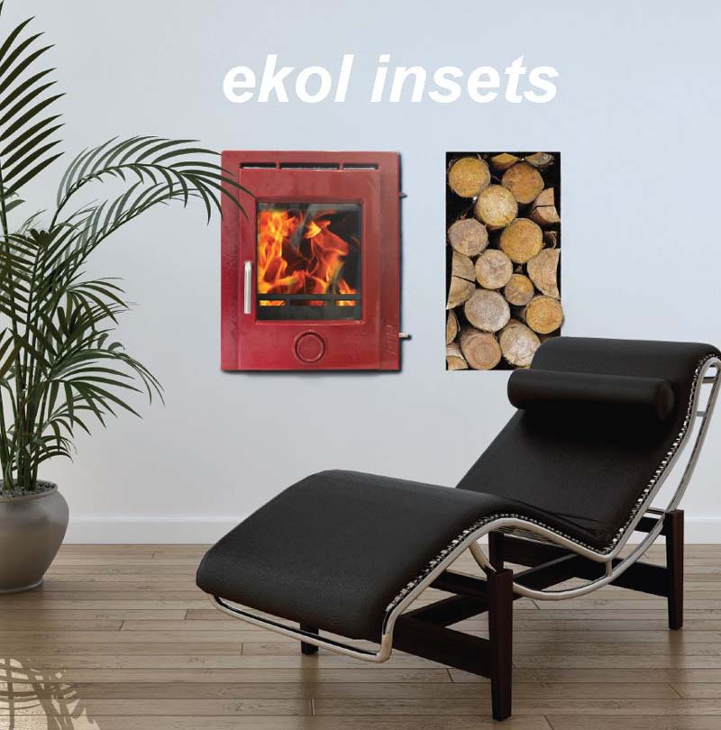 Ekol inset 5 woodburning stove in a room