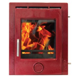 Ekol Inset 8 woodburning stove deep red enamel