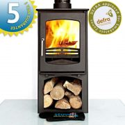 Ecosy+ Ottawa 5 Curve with stand and wood store - woodburning stove