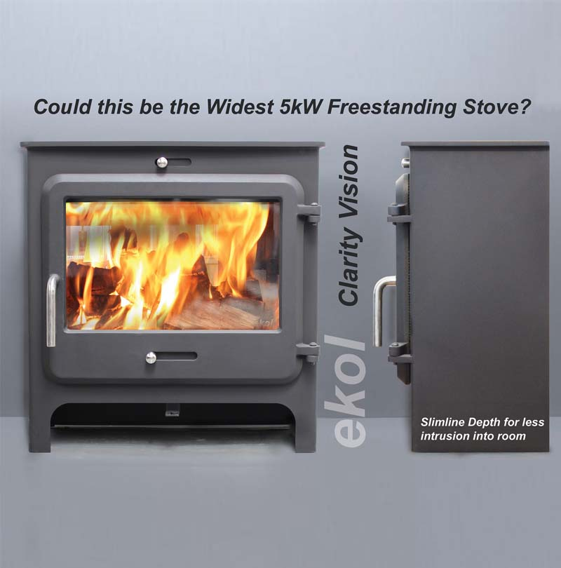 Ekol Clarity Vision 5kw woodburning stove dimensions