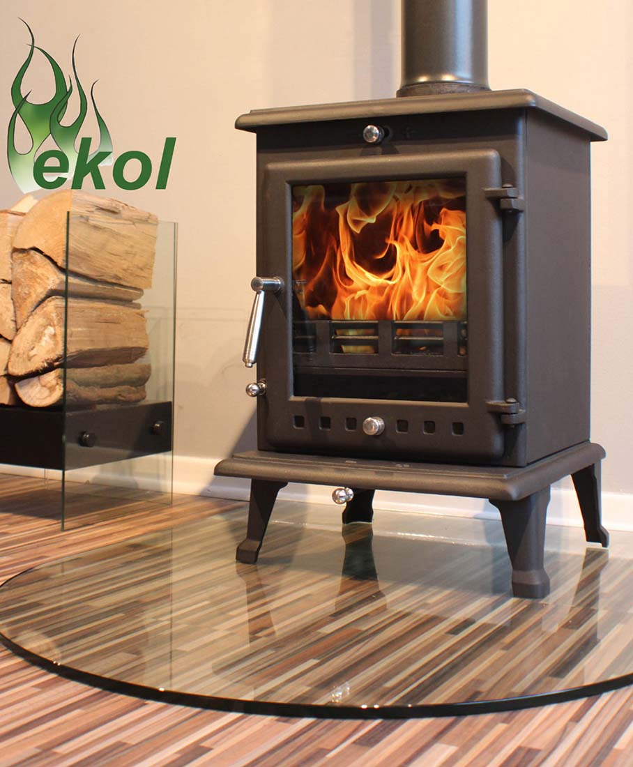Ekol Crystal 8 woodburning multi fuel stove on glass hearth