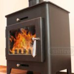 Saltfire ST1 wood burning stove from the side