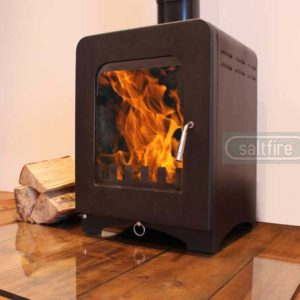 Saltfire ST2 woodburning stove angle left