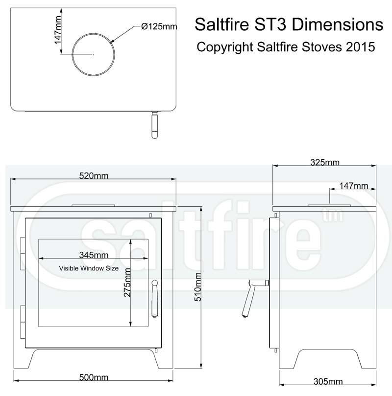 Saltfire ST3 woodburning stove dimensions